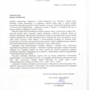 Uniwersytet Jagielloński gratuluje Dariuszowi Gołębiewskiemu i zaprasza do studiowania