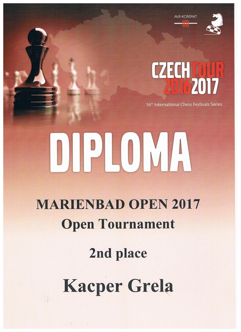Drugie miejsce  Kacpra Greli  w Marienbad Open