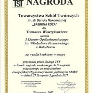 Podróż do Szwajcarii – nagrodą dla Tomka Wawrykowicza