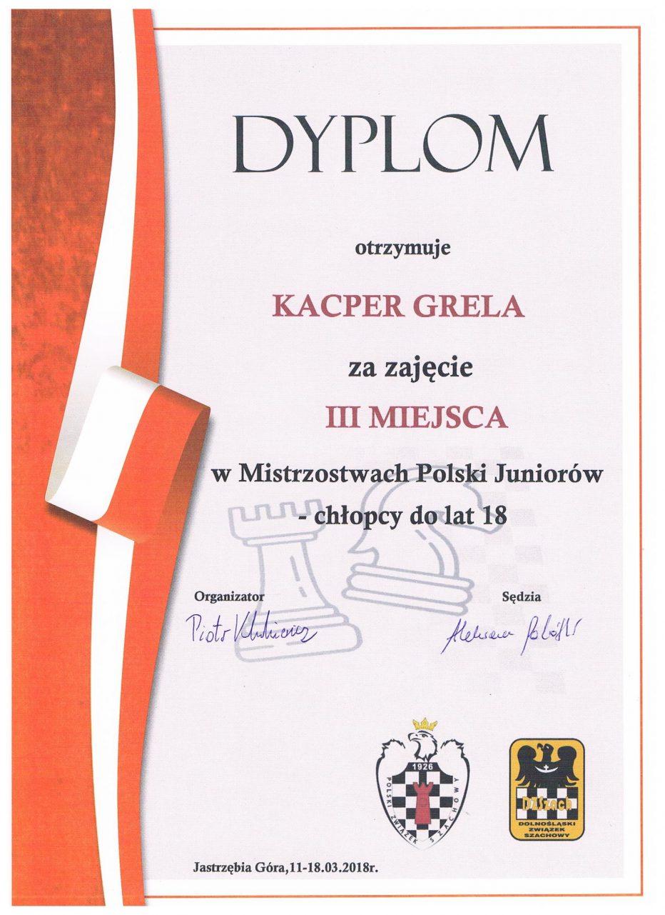 Kacper Grela brązowym medalistą Mistrzostw Polski Juniorów